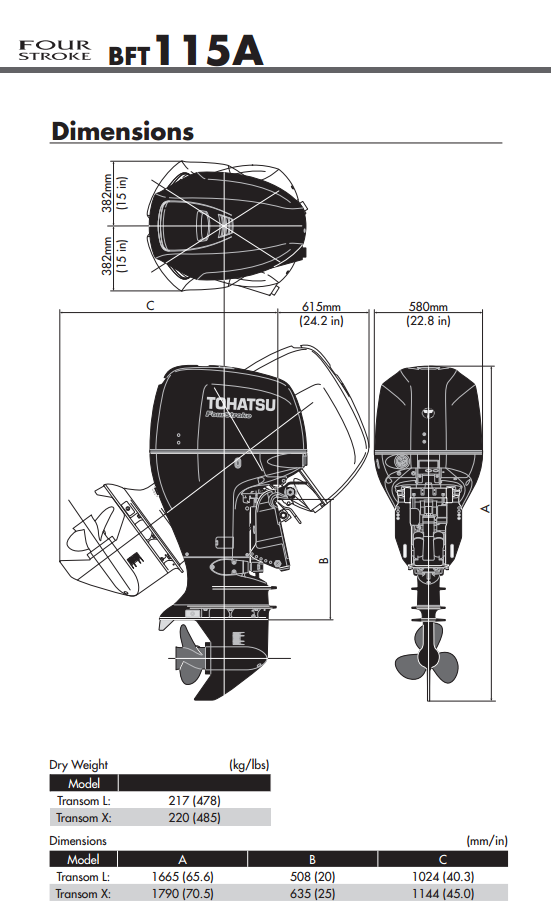 Outboard Motor Engine Dimensions