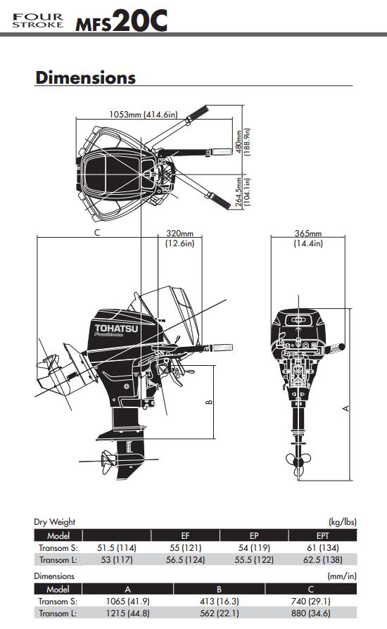Tohatsu 20hp Outboard Engine