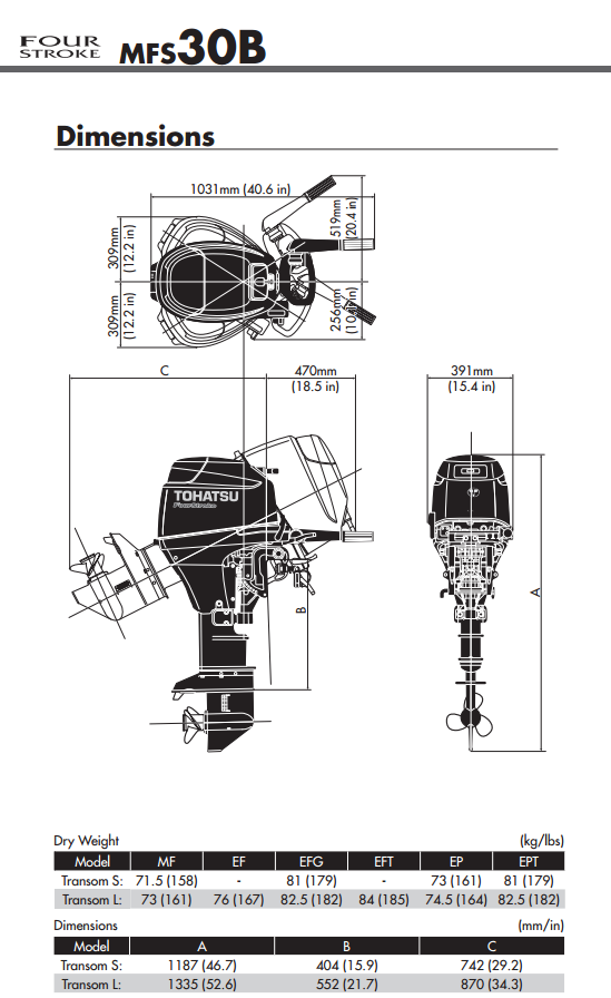 Tohatsu 30hp Outboard Engine